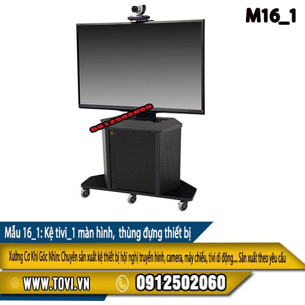 Kệ tivi 1 màn hình - có thùng đựng thiết bị- khóa - bánh xe di chuyển