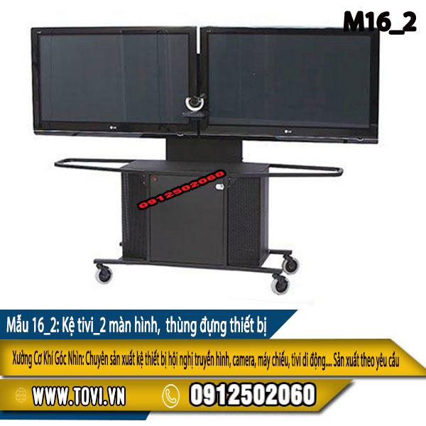 Kệ tivi 2 màn hình - có thùng đựng thiết bị- khóa - bánh xe di chuyển