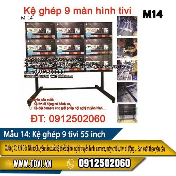 Mẫu kệ ghép 9 màn hình tivi
