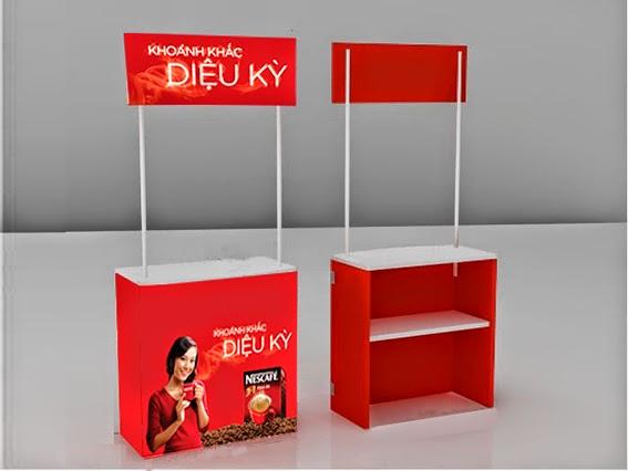 Mẫu booth - bàn giới thiệu sản phẩm - đơn giản, rẻ tiền